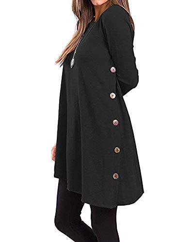 Lalala donna camicia casuale camicetta eleganti tunica t-shirt loose fit maglie a manica lunga nero small