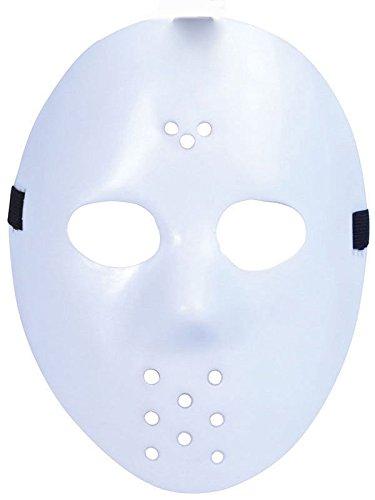 Extrem Fancy Dress Jason X vs. Freddy Halloween Freitag der 13. Hockey-Masken in einfachen weißen Farben Erwachsene PVC Qualität Maske mit elastischem Klettband Fancy Gesicht Maske (Halloween Ideen Kostüme Die Besten)