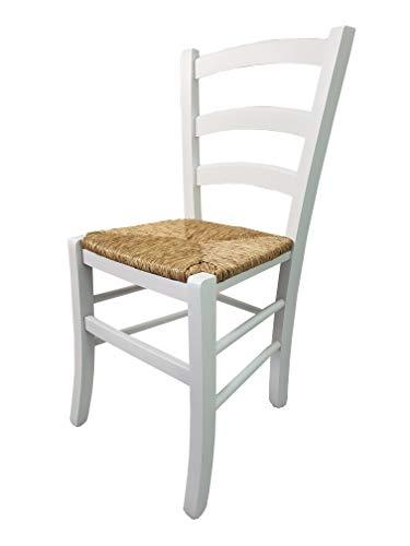 Totò piccinni ordine minimo 2pz, sedia paesana venezia in legno di faggio, altissima qualita', robusta, già montata, l43xp48xh88 cm (bianco laccato, seduta paglia)