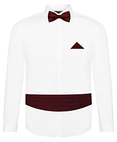 CRIXUS Herren Hemd Weiß Slim Fit Manschettenhemd + Kummerbund Set in Bordeaux Rot- 5 teilig - Anzug Schärpe (M - Kragenweite: 39/40)