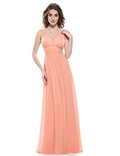 Ever Pretty Damen Chiffon V-Ausschnitt Lang Abendkleider Abschlussball Kleider Größe 39 Pfirsich