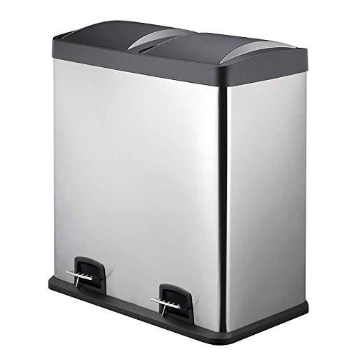 AsDlg Doble contenedor de Pedal de Reciclaje, 2 x 30L Cubo de Basura con Cubos Interiores de plástico...