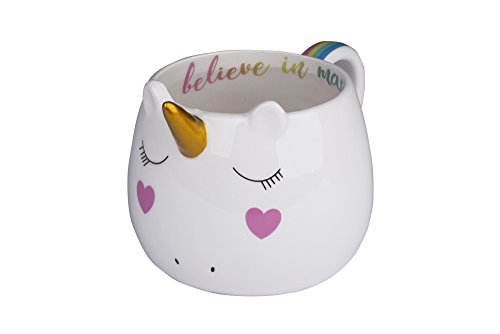 Tri-coastal design - unicorno - tazza in ceramica a forma di unicorno con corno, orecchie e coda e con disegnata una dolce scritta colorata