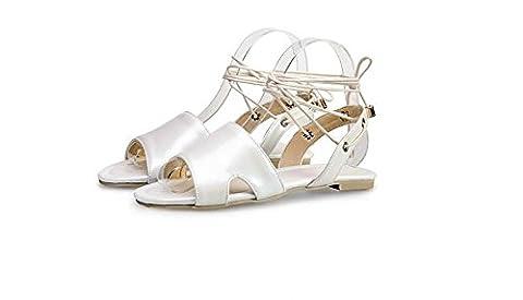 Beauqueen Sandalen Frauen Frühling und Sommer flache Handgelenk Armband weiblich rosa weiß rot blau Casual Urlaub Schuhe spezielle Größe Europa Größe 34-48 , white , (Rosa Pebbled Leder)