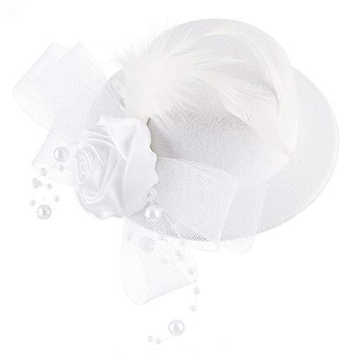 DEMU Mädchen Kinder Faszinator Federhut Haarklammer Minihut Zylinder Cosplay Party Theater Weiß (Kate Middleton Halloween Kostüme)