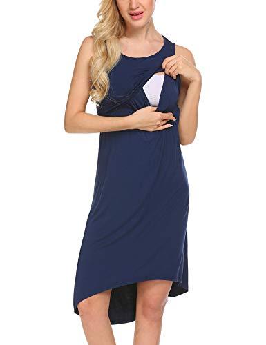 Unibelle Damen Umstandskleid Umstandsmode Schlafanzug Umstandskleidung Mutterschaft Schwangere Kleid Sommerkleid Umstandsnachthemd Stillnachthemd Navy Blau XL - Mutterschaft Kleid