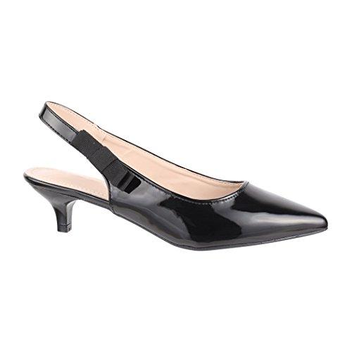 Elara Damen Pumps | Bequeme Stilettos Flach | Sling-Back | Chunkyrayan B-44-Black-39