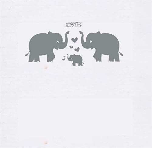 pegatina de pared pegatinas decorativas pared Familia de elefantes con corazón rojo...