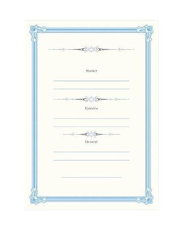 Tartan & Zebra 10 Blank wedding menu cards with ornate frame