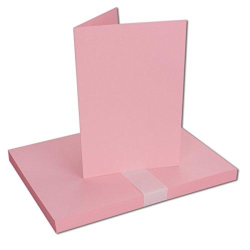 DIN A5 Faltkarten - Rosa | 25 Stück | Einladungskarten - Menükarten - Kirchenheft - Blanko | 14,8 x 21 cm | formstabil | für Drucker geeignet | Premium Qualitätsmarke: NEUSER FarbenFrohu00ae