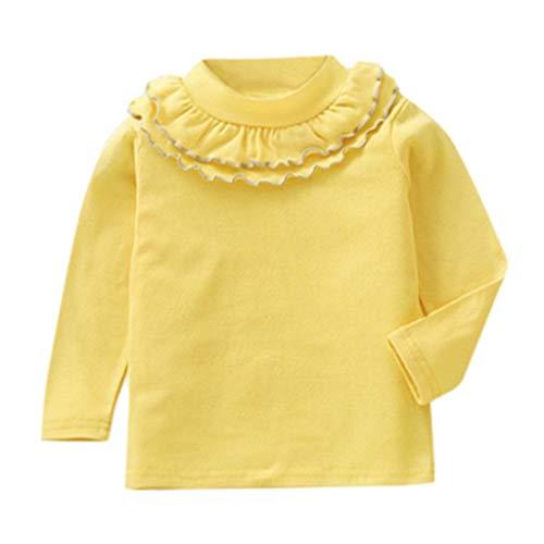 Heligen_Baby Kleidung Kleinkind Kinder Baby Mädchen O Neck Solide Tops Rüschen Basis Shirt T-Shirt Kleidung Baumwollmischung Tops Kleid Kleidung Baby Kleid