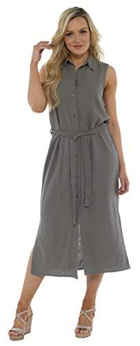 CityComfort Damen Sommer Leinen ärmelloses langes Hemdkleid | Knopf durch Tunika mit passendem Gürtel | Petite Bis Plus Kleider Größe Damenmode Erhältlich (38, Khaki-Grün) (Khaki Kleid Plus Größe)