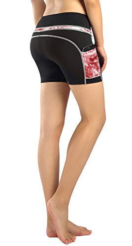Munvot Tailored Geschenke kurze Sport Leggings Damen Sporthose Fitnesshose Yoga Leggings Sporthose für Damen(Rubin Rot (Kurze Hose) M)