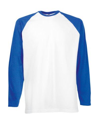 Fruit of the Loom Herren, Regular Fit, T-Shirt, Baseball M,Weiß / Königsblau