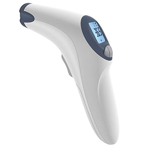 MeasuPro Berührungsloses Stirn- Und Fieberthermometer Für Babys Mit Anpassbarer Fieberwarnung, Leisestell-Option Und Großes LCD-Display, CE- Und FDA-Zulassung