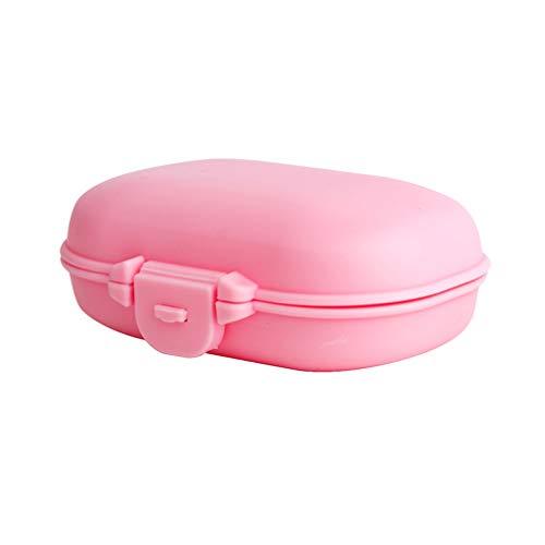 SUPVOX Kunststoff Pillendosen 4 Gitter wöchentliche Pillenhalter Container Tattoo Fall tragbare Pille Fall für Reisen im Freien (pink) -