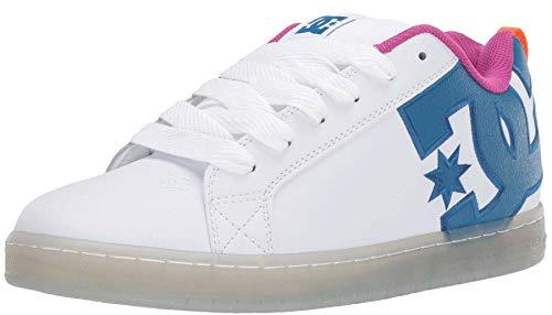 #DC Court Graffik SE White Cyan Leather Mens Skate Trainers Shoes - Dc Court Graffik Se Schuh