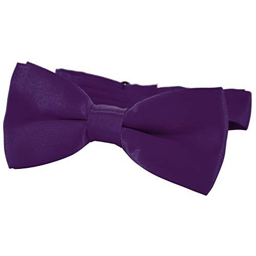 DonDon® Edle Kinder Fliege gebunden und längenverstellbar 9 x 4,5 cm lila glänzend in Seiden Look