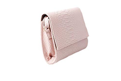Accessoryo - Damen Rosa Croc Textureffekt Schulter Handtasche (Rosa Sattel Schuhe)