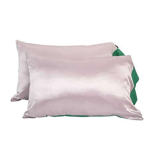 LilySilk Kissenhüllen Seide Kontrastfarbe Charmeuse Seide Tencel Kissenbezüge 2 Stücke Verschluss mit Knöpfen Verpackung MEHRWEG -