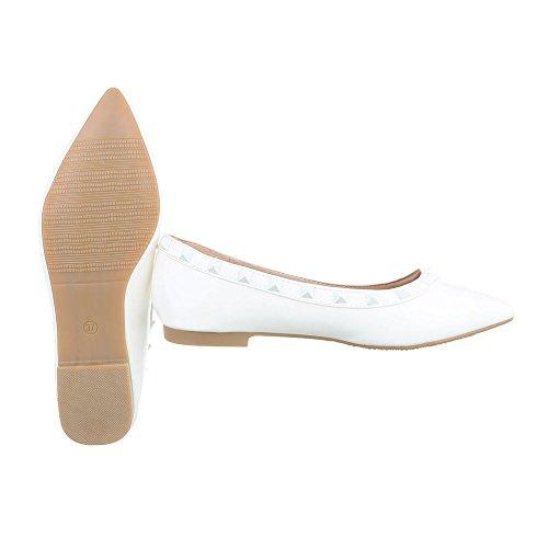 Ital-Design Ballerinas Damenschuhe Geschlossen Blockabsatz Blockabsatz Ballerinas Weiß XY02