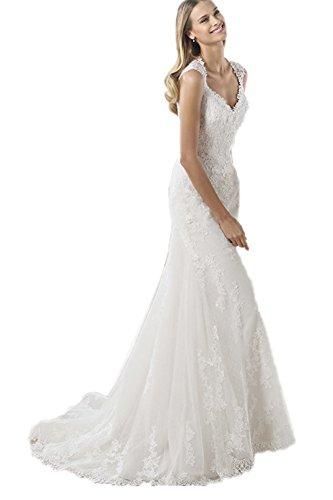 Ikerenwedding - Robe - Mermaid - Sans Manche - Femme Small Blanc