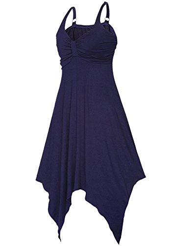 Estate Delle Donne Senza Maniche Con Scollo a V Elastico Irregolare Hem Vestito Scollato Blu