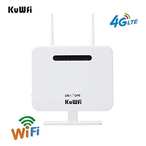 KuWFi 300 Mbit/s 4G LTE CPE-Router, Freischaltbarer WLAN-Router mit SIM-Kartensteckplatz Zwei Außenantenne 4 LAN-Port WLAN-Hotspot Hochgeschwindigkeits-EU-Version für 32 Benutzer (Sim-karten Für Europa)