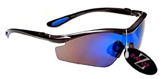 Rayzor Professional Lightweight GunMetal Grey UV400 Sports Wrap Cycling Sunglasses, With a 1 Piece Blue Iridium Revo Anti-Glare Lens.