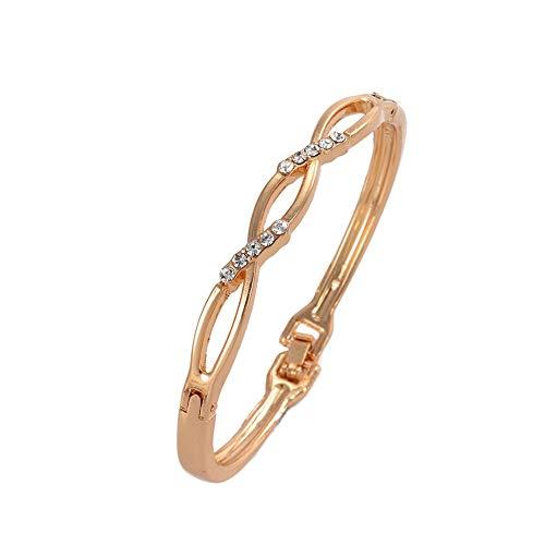 Bracciale da donna placcato oro con zirconi bianchi Lunghezza: 7 in 179 mm 1 braccialetto + scatola regalo nera e oro rosa 14 ct,...