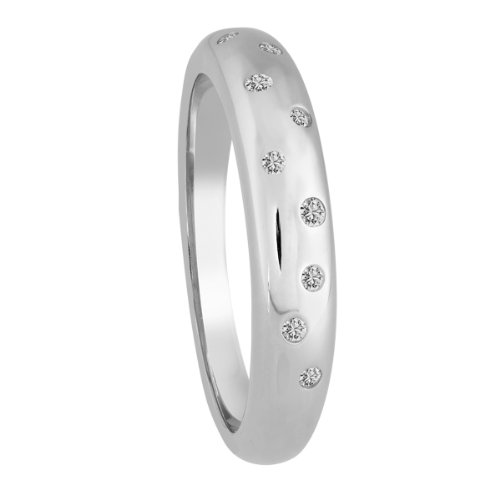 Diamond Line Diamant-Ring Damen 375 Weißgold mit 9 Brillianten 0.10 ct. Lupenrein