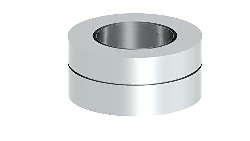 Schornstein Übergangselemet von einwandig EW (0,6mm - 1,0mm Wandstärke) auf doppelwandig DW (25mm Isolierung) mit integriertem Wandfutter, gerade; Ø 160mm Innendurchmesser, Edelstahl - Integrierte Schornstein