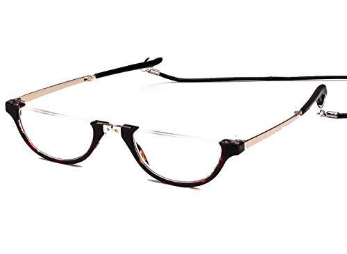 1c36d6f7a4 Agstum Mens Womens Half Rimless Foldable Reading Glasses with Case (Tortoise  Shell