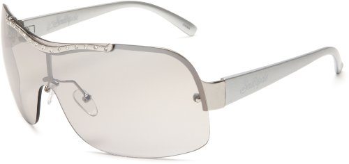 Southpole Womens 328SP SLV Shield Sunglasses,Silver Frame/Gradient Smoke With Flash Lens,one size