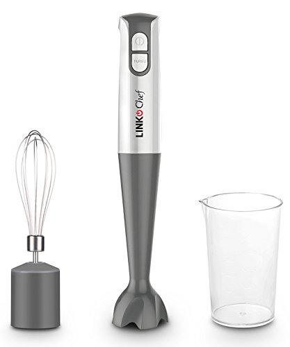 Hand Blender with Beaker & Whisk 400 W 2 Speed Stainless Steel Blades White & Grey, HB-1440-3 Year Warranty