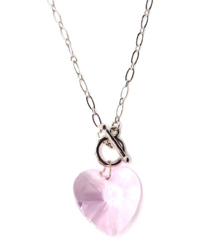 Collana di cristallo swarovski cuore forma in rosa chiaro/collana di cristallo swarovski in rosa chiaro/cristallo swarovski cuore collana forma in rosa chiaro
