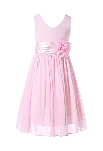 (Happy Rose Junior Chiffon-Kleid mit V-Ausschnitt, für Brautjungfern / Blumenmädchen Gr. 14_Jahre, Blush Pink)