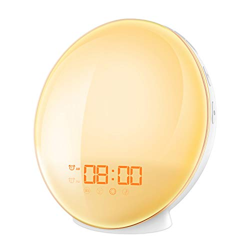 AMIR Wake Up Licht, Lichtwecker mit Dual Alarm & Snooze Funktion, led Lichtwecker mit Sonnenaufgang Simulation, 7 Farben, 8 Alarmtöne, FM Radio, USB-Anschluss, Ideal für Haus, Geschenk