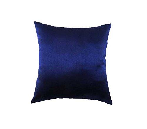 Marudhara Fashion Designer Marineblau Akzent-Kissen, einfache Muster, Perlenkissenbezug, 40,6 x 40,6 cm, quadratischer Kissenbezug aus Seide, Designer Home Decor Kissenbezug -