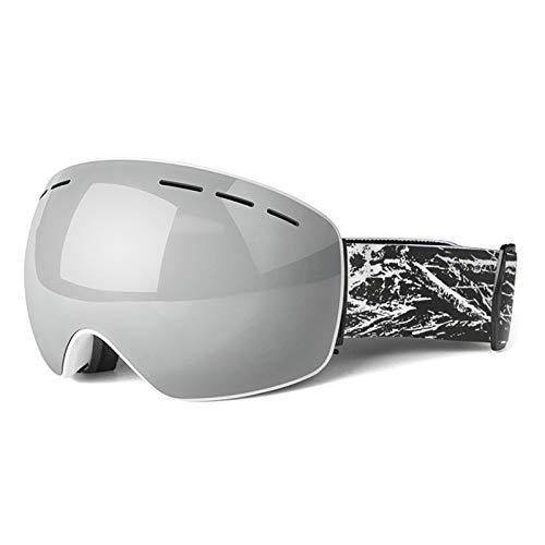 Aeici Sportbrille TPU Sportbrille Damen Polarisiert Ski Goggles Anti Fog Silber Weiss