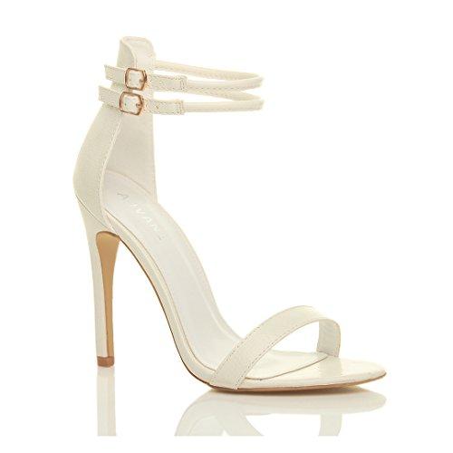 Sandales Pour Femmes Stiletto Stiletto Stiletto Double Lined White Lizard