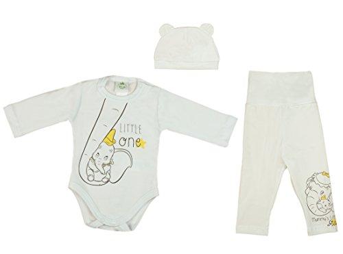 Disney Jungen- oder Mädchen- BABY-SET Dumbo 3-TEILIG bestehend aus Baby-Body, Höschen und Mützchen, GRÖSSE 56, 62, 68, 74, 80, Spiel-Anzug, Schlaf-Anzug mit langer Hose für Neugeborene Size 74