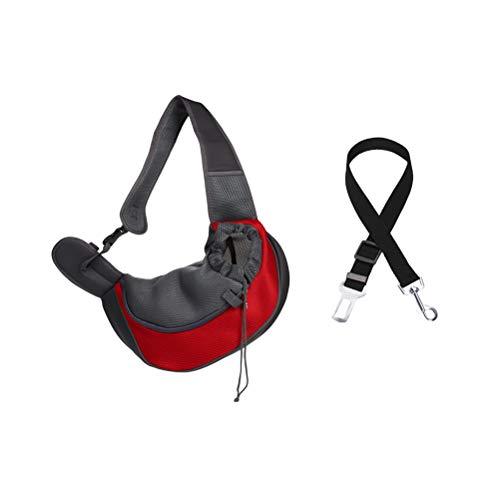 POPETPOP Pet Sling Carrier Bag Hand-frei Hund Katze Outdoor Travel Umhängetasche mit Auto Sicherheitsgurt Größe S -