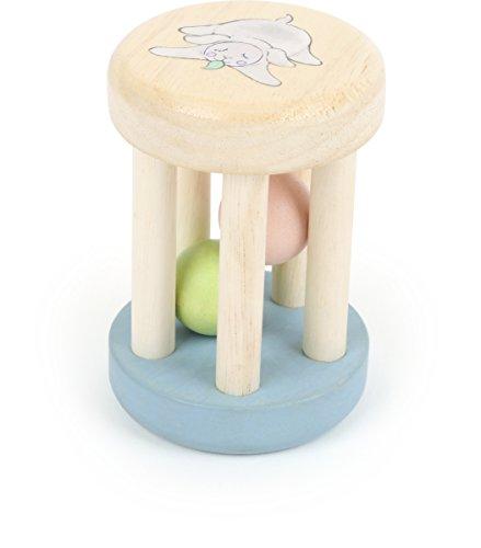 TÜV zertifizierte Babyrassel aus recyceltem Holz mit pastellfarbenen Kugeln im Inneren zum Klappern, passt ideal in eine Babyhand, farb- und speichelfest