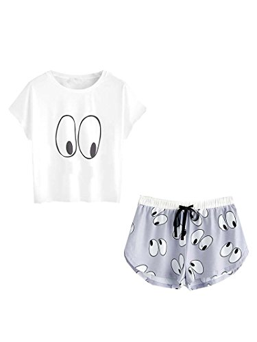 DIDK Damen Übergroß Pyjama Set mit Avocadomuster und Kordelzug ,Muster 3 - M
