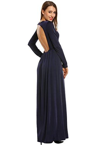 08dc53086357ff Meaneor Damen Elegant Rückenfrei Kleid Langarm Maxikleider Festlich Party  Abendkleider A-Linie Kleider