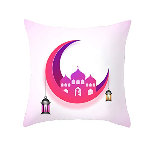 TTLOVE Muslim Ramadan Pattern Polyester Kissenbezug Home Decor Kissen Baumwolle Leinen Linen Throw Pillow Cover Decorative Night Moon Dekokissen Fall(Mehrfarbig24)