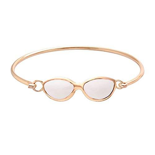 MHOOOA Armband Armreif Mode 3 Farben Gold Silber Rose Gold Tiny White Emaille Sunglass Easy Opening Armreif für Womens Geschenk