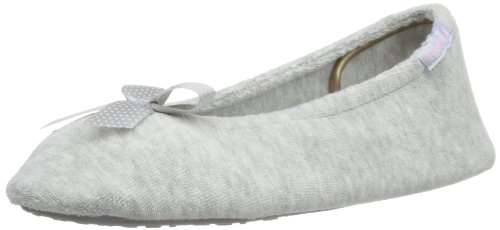 isotoner-pantofole-stretch-terry-donna-grigio-gris-x-large