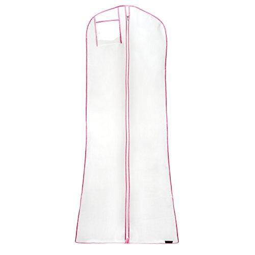 Wasserabweisender Kleidersack für Hochzeitskleider - weiß mit rosa Saum - 183 cm - Hangerworld